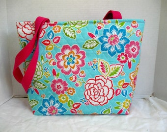 Tropical Flowers Quilted Large Tote - Hawaiian Floral Purse - Inside Pockets