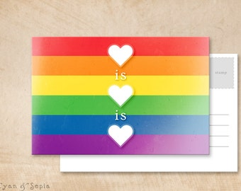 Printable Postcard - Love is Love - 4x6 Print Your Own - LGBTQ Rainbow Heart Political Equality Donation