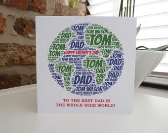 """Personalised """"Best in the World"""" Card, Personalised Father's Day Card, Card for Dad/Brother/Uncle/husband"""