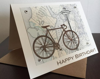 Seattle Map and Bike Birthday Card - Gocco Screen-Printed Card