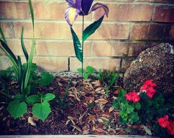 Purple Iris Flower Garden Stake,  Metal Purple Iris Flower,  Garden Art,  Garden Decor,  Metal Flower, Metal Garden Stake