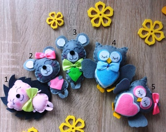 Felt Animals Owl Mouse Hedgehog Navy kids room decor Stuffed animals