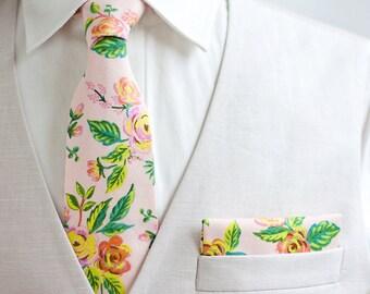 Necktie, Neckties, Mens Necktie, Neck Tie, Floral Neckties, Groomsmen Necktie, Groomsmen Gift, Rifle Paper Co - Jardin De Paris Peony