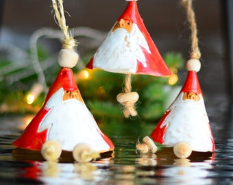 Santa Claus Christmas ornament , ceramic Santa Claus chime, Christmas tree decoration bell or sitting on the table, Christmas gift.