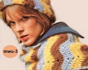 Crochet Pattern, Womens Crochet Chevron Hat Pattern, Ripple Mohair Hat Crochet Pattern. Gift Idea, INSTANT Download Pattern PDF (1501 MWU-3)