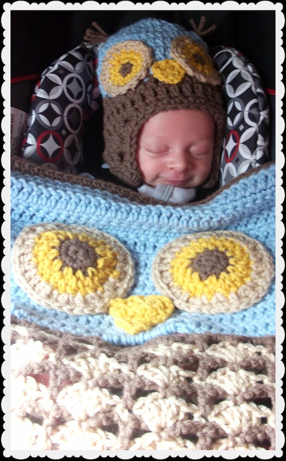 Items similar to Crochet Woodland Owl Stroller/Carseat ...