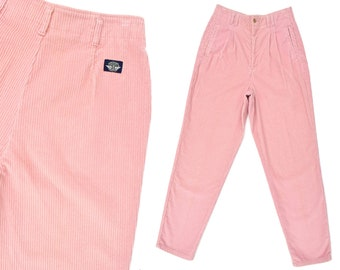 Womens High Waist Corduroy Jeans Pleated High Waist Pink Corduroy Pants Taper Jeans 90s Dockers Mom Jeans Pink Vintage Trousers Womens 30 W