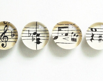 Vintage Sheet Music - Set of 4- you choose magnets or push pins - perfect music teacher gift- BEST SELLER - music notes