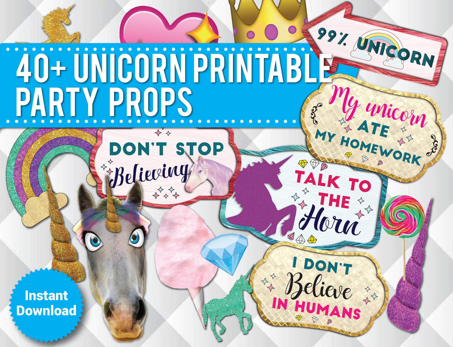 40 Unicorn Party Photo Booth PRINTABLE Props