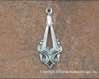 Antique en argent Sterling plaqué chute composant boucle d'oreille victorien (article 1138 comme) - 6 pièces