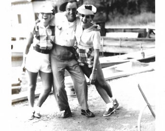 """Vintage Snapshot """"Falling Down Funny"""" Laughing Out Loud Pretty Girls Cute Guy Silly Hats Gelatin Silver Found Vernacular Photo"""