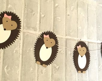 Hedgehog Banner with Bow -- Woodland, Baby Shower, Nursery, Birthday Party