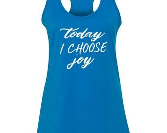 Choose Joy Turquoise Racerback Ladies Tank