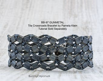 BB-97 Gunmetal BEAD PACk for Tila Crossroads Bracelet by Pamela Klein - Tutorial Sold Separately BB97