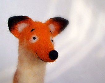 Felted Fox felt toy - Ludwig, Art Toy. Felt Marionette  Puppet Stuffed Animal. plush woodland animals, orange brown red, forest animal.
