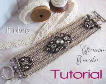 Tutorial for beadwoven bracelet 'Victorian Bracelet' - PDF beading pattern - DIY
