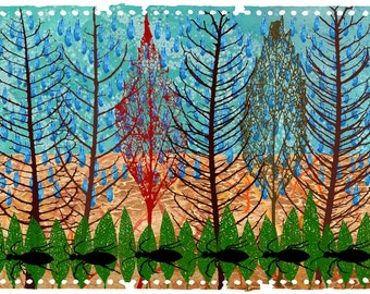 nature artwork, printable nature art, abstract forest print, art collage, printable artwork, printable wall art, digital download printable