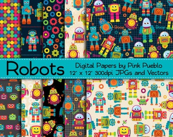 Robot Digital Papers Printable Papers Scrapbook Papers, Robot Scrapbook Paper Background Patterns - Commercial and Personal Use