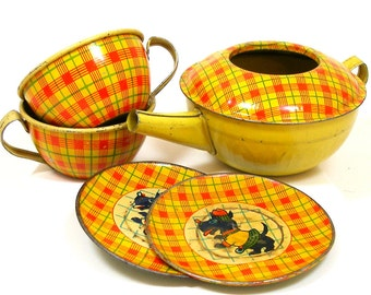 30s Tin Toy Tea Set, Scottie dog in clothes with plaid, by J. Chein Co.
