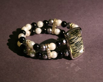 Beaded double bracelet with animal print accent