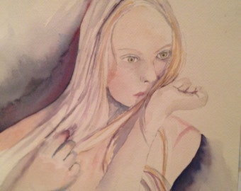 Waiting, an original fine art watercolor of a young woman in a rather pensive mood.