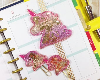 Unicorn Planner Band and Clip Set, Embroidered Unicorn Planner Band, Unicorn Bookmark, Embroidered Shaker