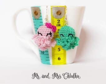 Cthulhu amigurumi earrings crochet Mr and Mrs Cthulhu