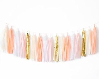 Peaches and Cream Tassel Garland - Peach Party Decor, Peach Wedding Decor, Peach Baby Shower, Peach Nursery Decor, Peach Party Banner