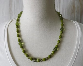 Olive green necklace, Czech glass necklace, summer necklace, pretty necklace, glass beads necklace, green glass necklace, olive jewellery