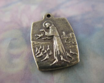 Saint Francis Religious Medal Religious Jewelry Supplies White Bronze Charms  WB846LS