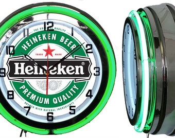 "Heineken Beer 19"" Retro Double Tube Neon Clock FREE SHIPPING By: Checkingtime.com"