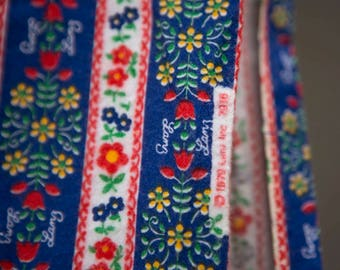 Vintage flannel fabric with swedish scandanavian pattern - royal blue with red blue yellow flowers and stripes