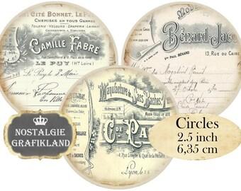 Circle 2.5 inch French Ephemera Instant Download digital collage sheet C175 Circles