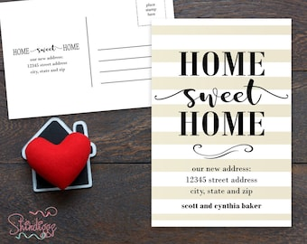New Home Announcement Postcard, Moving Announcement Card, New Address, Printable, New House, Home Sweet Home, Moved