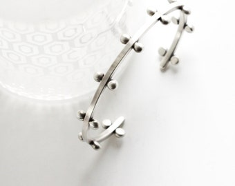 "Square silver wire cuff bracelet embellished with argentium silver balls, striking when worn alone, but even better stacked - ""Relic Cuff"""
