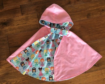 Pink hooded cape, reversible cape, dressup cape, girls dress up, toddler cape, hooded cape, princess cape, cape with crown, 3/4T