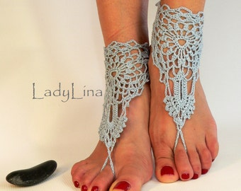 Silver Blue Barefoot Sandals, Anklet Barefoot Sandle, Foot jewelry, Steampunk, Victorian Lace, Gift wrapped