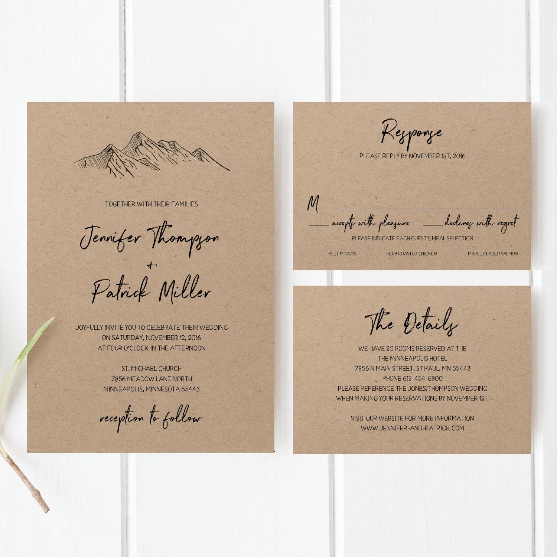 Printable Wedding Invitation Sets: Printable Wedding Invitation Template Set Mountain Wedding