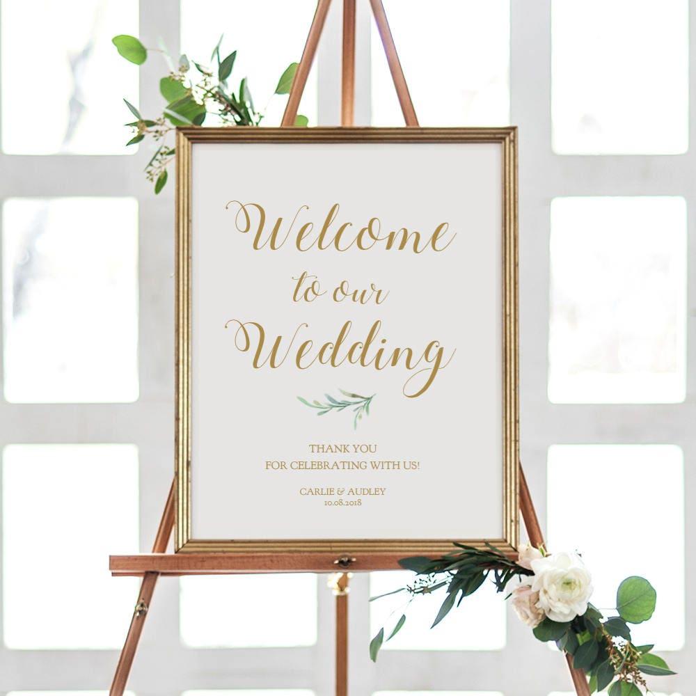 Greenery Welcome Wedding Sign Printable. Printable Welcome