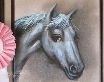 Adorable Vintage HORSE Oil PAINTING With PINK Horse Show Ribbon, Shabby Chic, Farmhouse