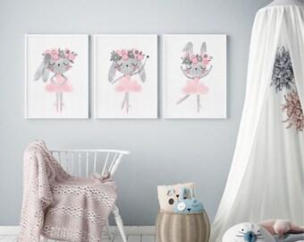 Set of 3, Baby bunny ballerina, nursery art