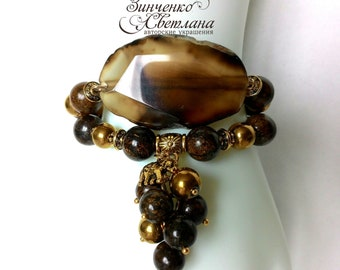 Bracelet of Agate and Bronzita