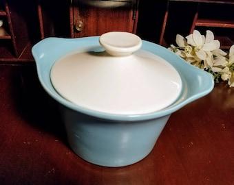 Vintage Shawnee Casserole Crock Robin's Egg Blue with White Lid