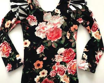 Black floral stripe flutter sleeve leotard