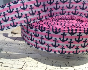 "7/8"" NAUTICAL PREPPY ANCHOR Pink Stripe Grosgrain Ribbon sold by the yard"