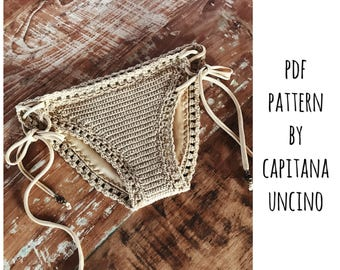 PDF-file for Crochet PATTERN, Serafina Crochet Bikini Bottom, Basic, with more coverage, Sizes XS-L