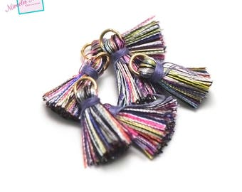 4 beautiful quality 22mm, multicolored lilac cotton tassels