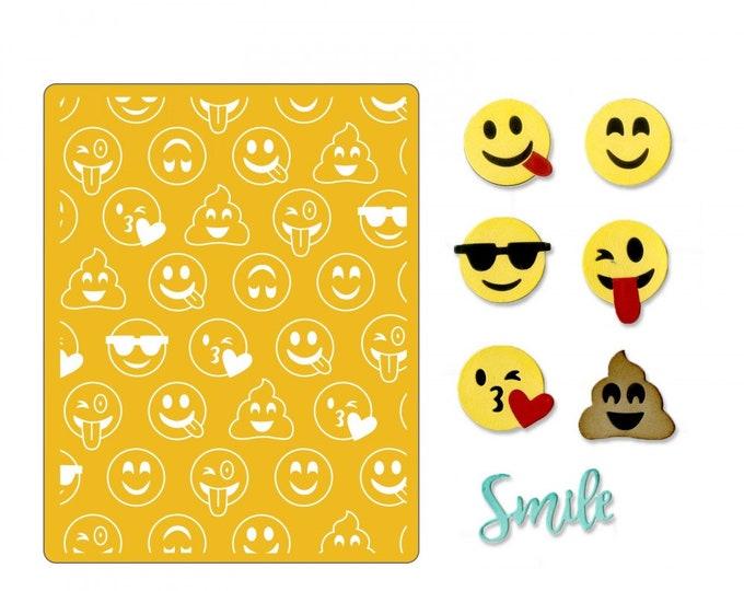 New! Sizzix Thinlits Die Set 10PK w/Textured Impressions - Smile Emojis 662754
