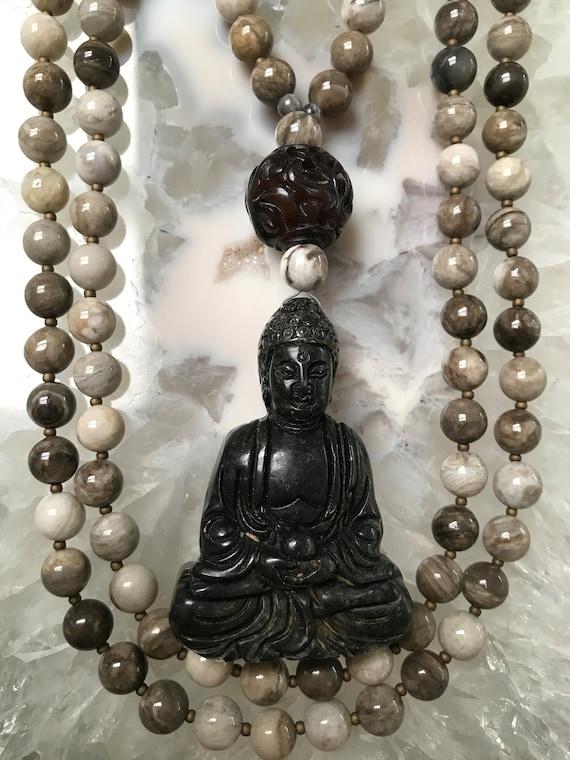 Silver Leaf Jasper and Mahogany Mala/Prayer Beads