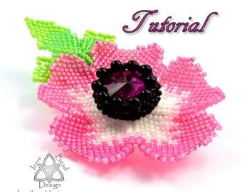 PDF Tutorial Anemone Flower Brooch, Pin. Peyote Stitch with 18mm Rivoli. Beadwork Pattern, instructions. English Only,